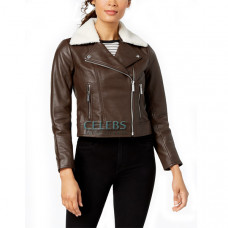 Faux Shearling Collar Chocolate Brown Jacket