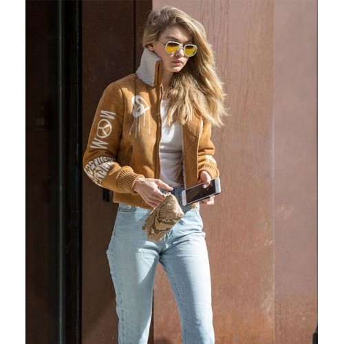 Gigi Hadid Bomber Brown Jacket