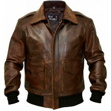 A-2 Aviator Flight Military Pilot Bomber Brown Leather Jacket