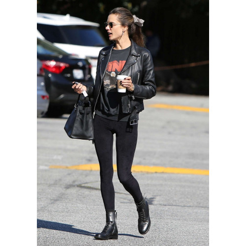 Alessandra Ambrosio Victoria Secret Angel Black Leather Jacket