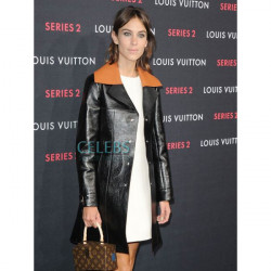 Alexa Chung Black Leather Trench Coat