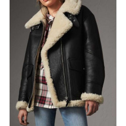 Womens Aviator Ivory Shearling Jacket