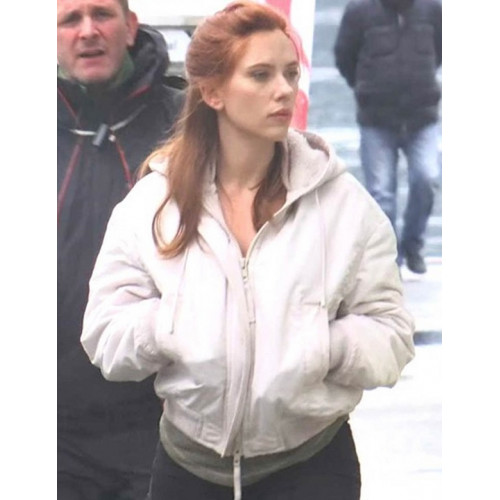 Scarlett Johansson Black Widow White Hooded Jacket