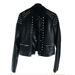 Black Studded Cafe Racer Leather Jacket