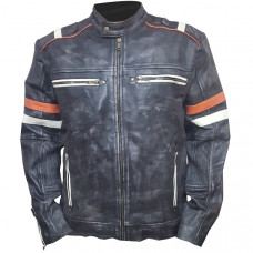 Men's Vintage Classic Cafe Racer Retro 2 Moto Black Leather Jacket