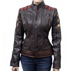 Women's Cafe Race OX Blood Waxed Brown Leather Jacket