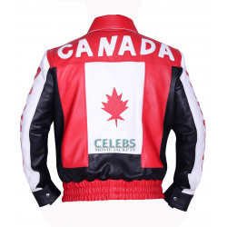 Canadian Flag Biker Bomber Leather Jacket