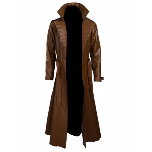 Channing Tatum Gambit Leather Costume Trench Brown Coat