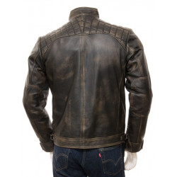 Quilted Distressed Brown Leather Biker Jacket