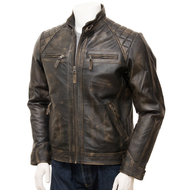 8bed1fbf8 Quilted Distressed Brown Leather Biker Jacket