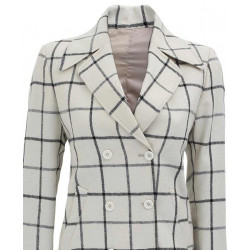Women Double Breasted Checkered Wool Coat