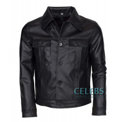King Of Rock Elvis Presley Black Leather Jacket