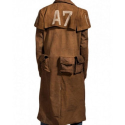 Fallout New Vegas Veteran Ranger Trench Real Leather Coat Costume