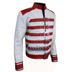 Freddie Mercury White Jacket with Red Belts