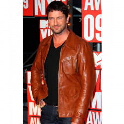 MTV Award Gerard Butler Brown Tan Leather Jacket