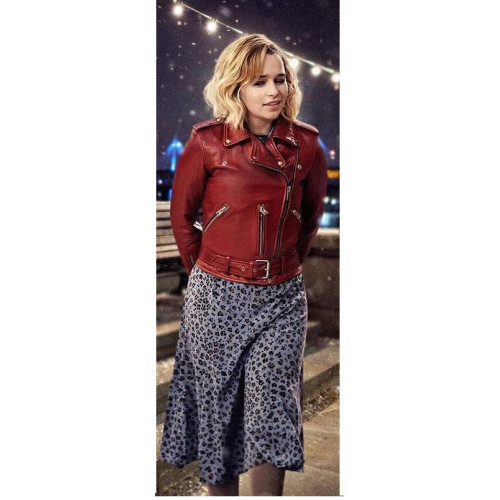 Last Christmas Emilia Clarke Red Leather Jacket