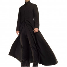 Neo Matrix Keanu Reeves Black Trench Coat