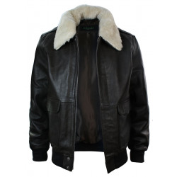 A2 Flight Aviator Real Fur Collar Bomber Leather Jacket