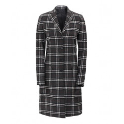 Women Single Breasted Plaid Wool Coat