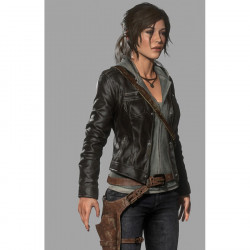 Rise of The Tomb Raider Lara Croft Black Leather Jacket