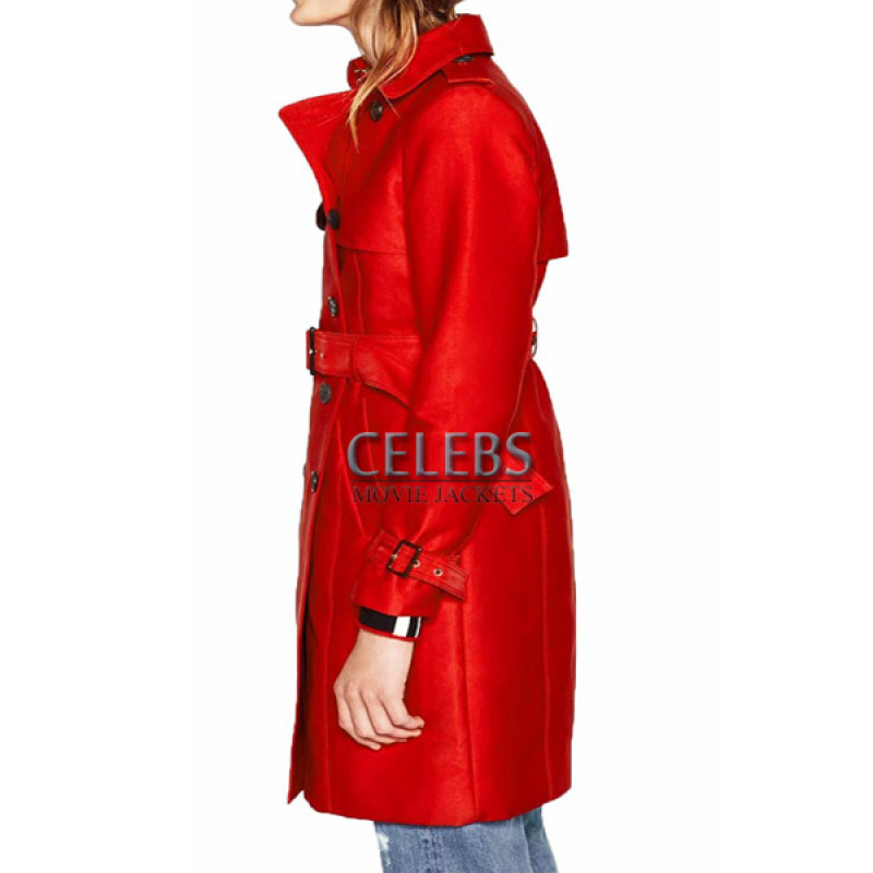 7fdce11f2178c Riverdale Polly Cooper Double Breasted Red Trench Coat - Celebs ...