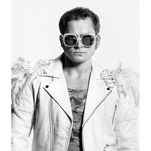 Rocketman Elton John White Leather Jacket