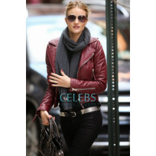 Rosie Huntington Red Biker Leather Jacket
