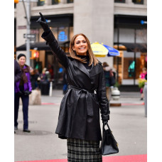 Jennifer Lopez Second Act Leather Coat
