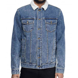 Shameless Frank Gallagher Blue Denim Shearling Jacket