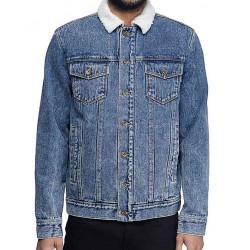 Shameless Frank Gallagher Blue Denim Shearling Jacket
