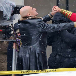 Dr. Sivana Shazam Mark Strong Fur Collar Black Leather Trench Coat