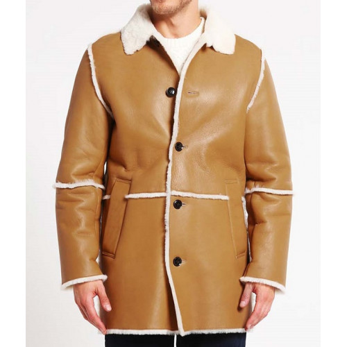Mens Brown Shearling Leather Coat