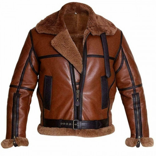 Men's Classic B3 Aviator Brown Leather Full Shearling Jacket