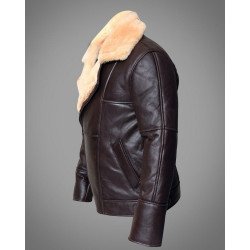 Full Shearling Dark Brown Leather Bomber Jacket