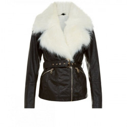 Parisian Black Faux Fur Trim Leather Look Jacket