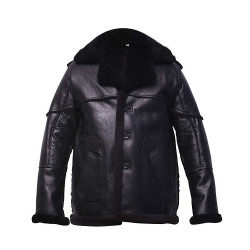 Mens Black Shearling Leather Bomber Jacket
