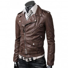 Slim Fit Belted Rider Brown Jacket