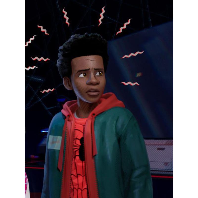 fbae01f6 Spiderman Into The Spider-Verse Miles Morales Hoodie Jacket - Celebs ...