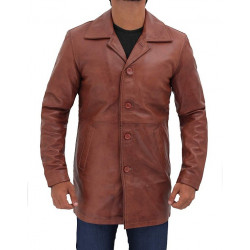 Natural Mens Tan Leather Brown Coat