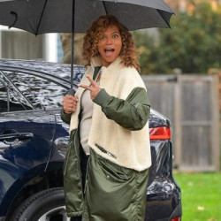 The Equalizer Queen Latifah Green & White Coat