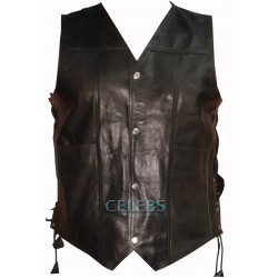 Walking Dead Daryl Dixon Black Leather Vest