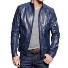 Navy Blue Leather Jacket Mens