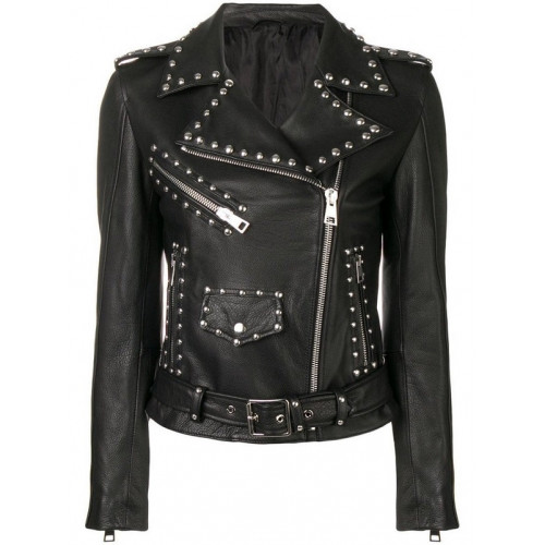Womens Leather Silver Studded Jacket